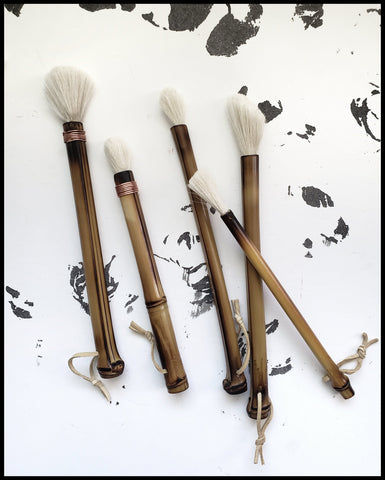 Sumi-e Brushes with Bamboo Handles and Goat or Horsehair Bristles - Elizabeth Schowachert Art