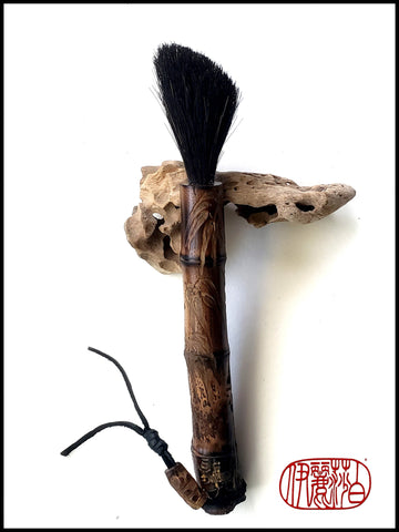 Sumi-e Paint Brush With Driftwood Brush Rest - Elizabeth Schowachert Art