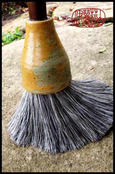 Sumi-e Paint Brush With Grey Horsehair Bamboo Handle - Elizabeth Schowachert Art