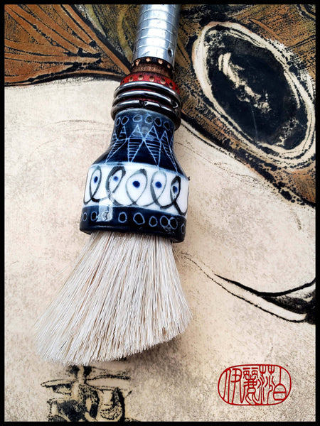 Super Premium White Horsehair Sumi-e Paint Brush With Porcelain Ferrule Art Supplies Elizabeth Schowachert Art