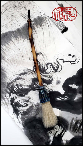 White Coarse Horsehair Sumi-e Paint Brush with Ceramic Ferrule Art Supplies Elizabeth Schowachert Art