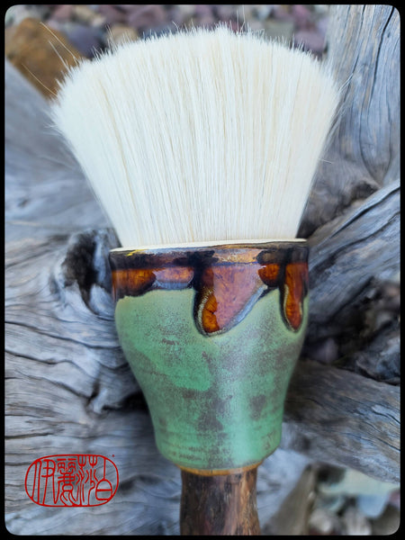 White Goat Hair Sumi-e Paint Brush with Ceramic Ferrule Art Supplies Elizabeth Schowachert Art