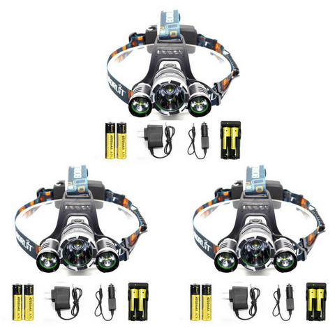 3 PACK KIT: ULTRA Bright LED Rechargeable Headlamps & Accessories