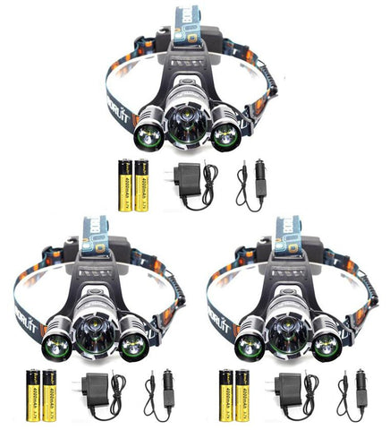 Hunting - 3 PACK: ULTRA Bright LED Rechargeable Headlamps