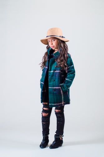 Wool Plaid Peacoat - Coats - Mozayn fashion boys and girls