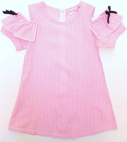 Stripes Cold-Shoulder Ribbon Dress - dresses - Mozayn fashion boys and girls
