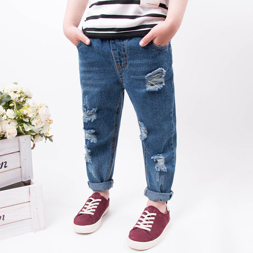 Unisex Washed Ripped Tapered Jeans - jeans - Mozayn fashion boys and girls