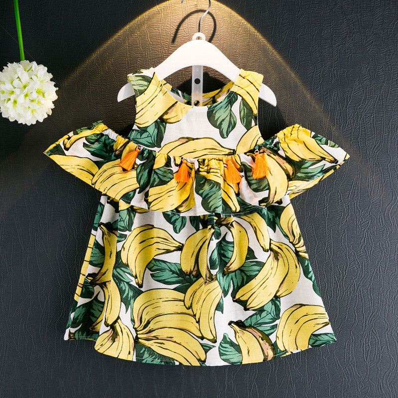 Banana Print Cold-Shoulder Ruffle Dress - Dress - Mozayn fashion boys and girls