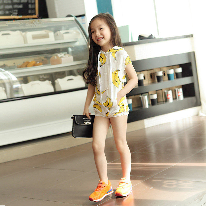 Banana Print Sleeveless Hoodie & Shorts - set - Mozayn fashion boys and girls