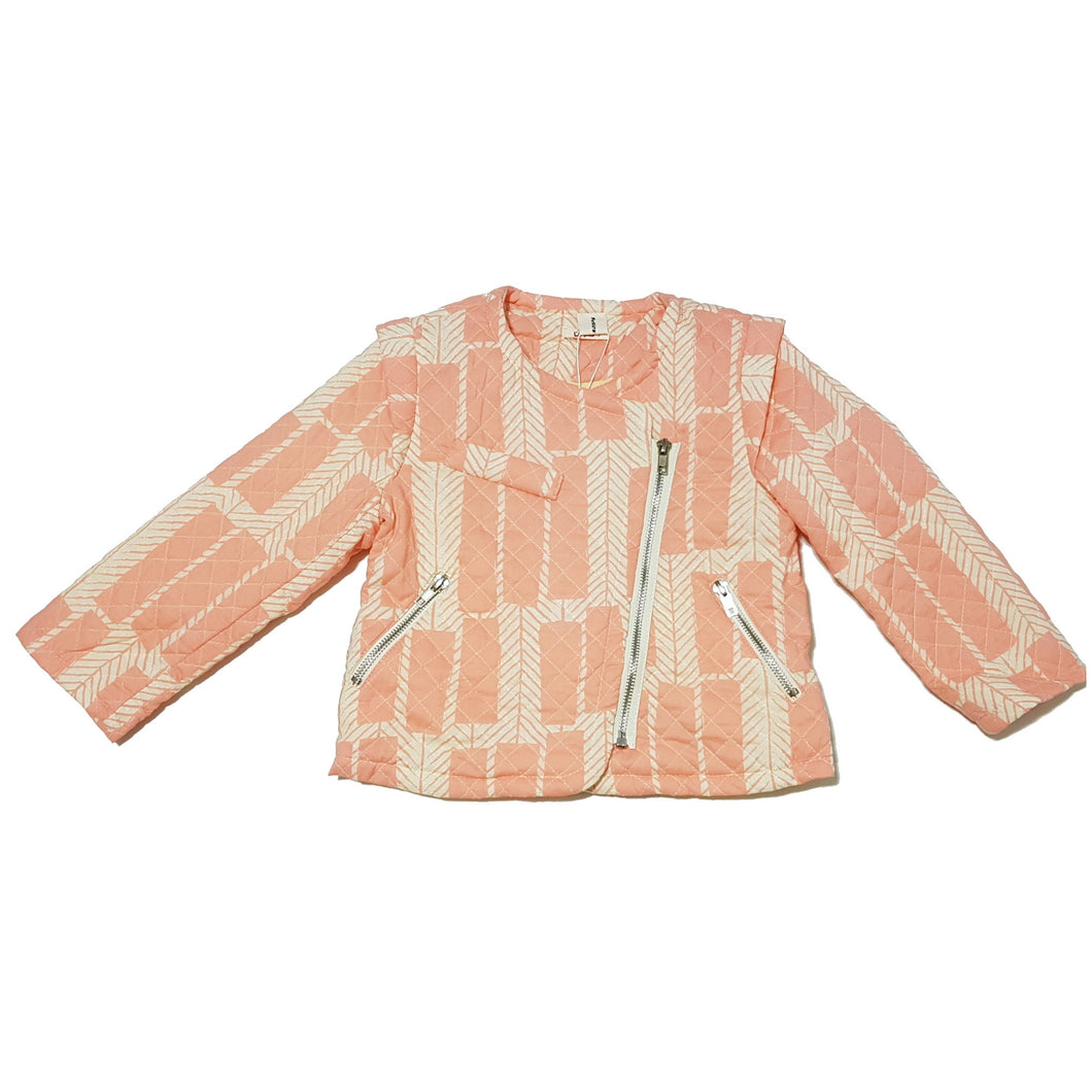 Pink Asymmetrical Quilted Jacket - Jacket - Mozayn fashion boys and girls