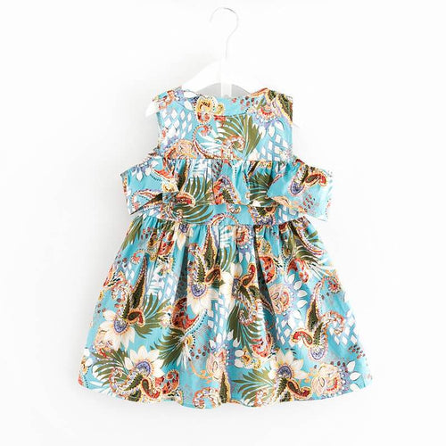 Tropical Cold Shoulder Ruffle Dress - Dress - Mozayn fashion boys and girls