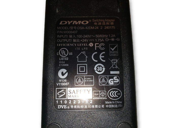 Dymo LabelWriter Power Supply DSA-42DM-24 AC Adapter 24V 1.75A W008407
