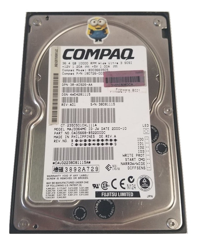 DELL 0297HW/MAJ3364MC/CA05668-B52200DC HARD DRIVE 36.4GB