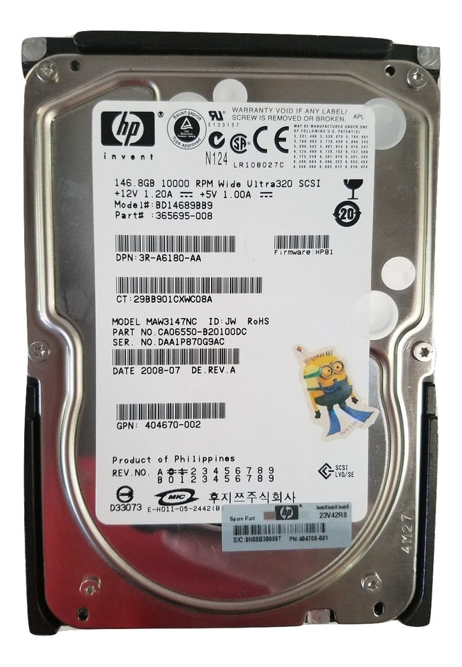 "HP 146 GB BD14689BB9 365695-008 ULTRA 320 3.5"" SCSI 10K RPM"