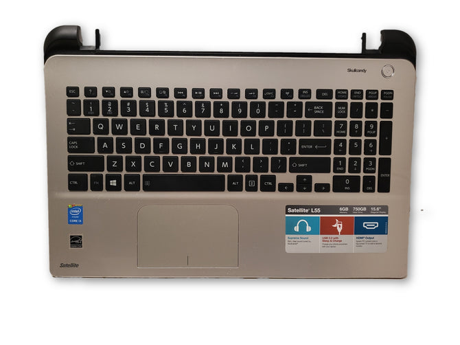 "Toshiba Satellite L55t-B 15.6"" Silver Palmrest Keyboard Touchpad A000295230"