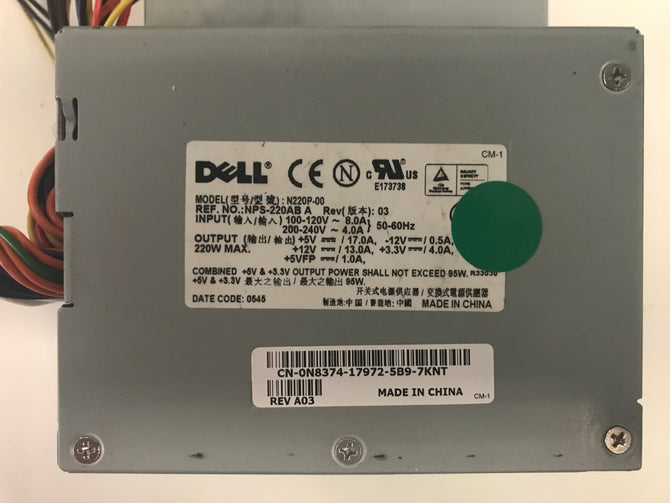 Dell N220P-00 Power Supply. CN-N8374