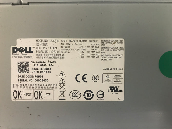 Dell L375P-00 Power Supply. CN-KH624
