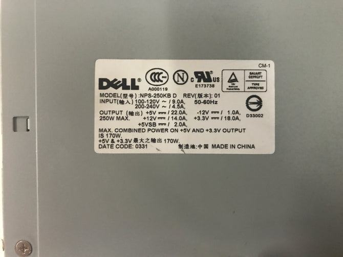 Dell NPS-250KB  Power Supply. CN-M1608
