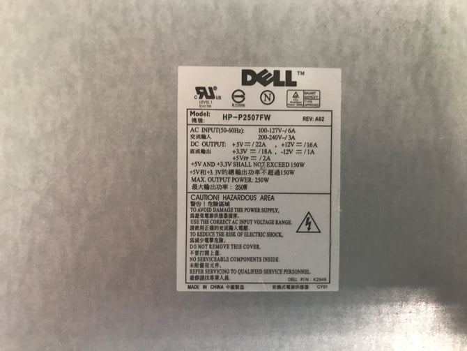 Dell HP-2507FW Power Supply. CN-K2946