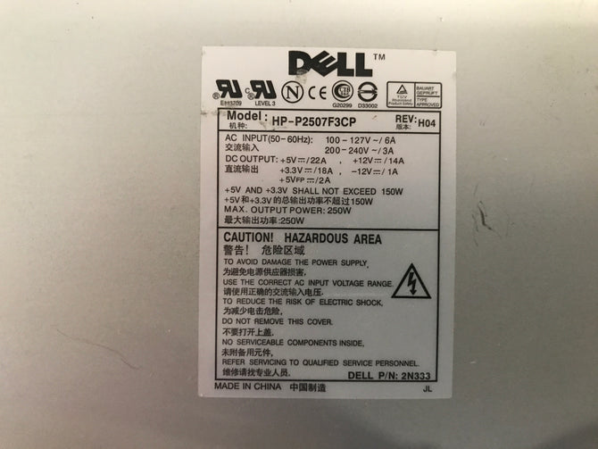 Dell HP-P2507F3CP Power Supply. CN-2N333