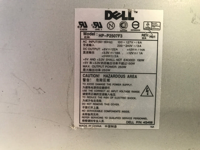 Dell HP-2507F3 Power Supply. CN-4G456