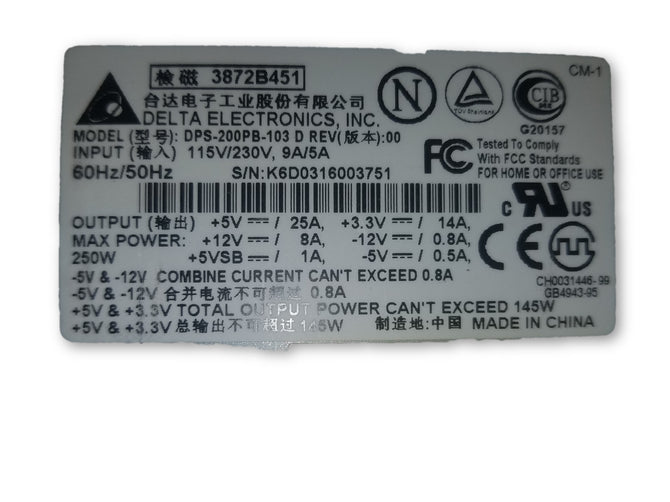 Delta Electronics Power Supply 145w DPS-200PB-103E