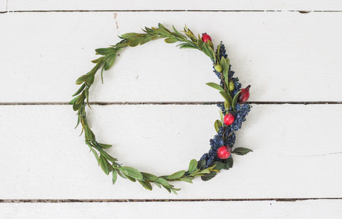 High Quality Synthetic Dark Blue+Deep Red and Yellow Toned Berry Greenery Crown