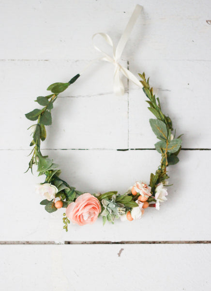 Garden Cluster Crown with Ribbon Tie
