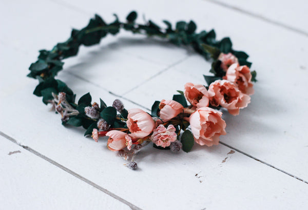 Dusty Rose and Real, Dried and Preserved Eucalyptus Flower Crown