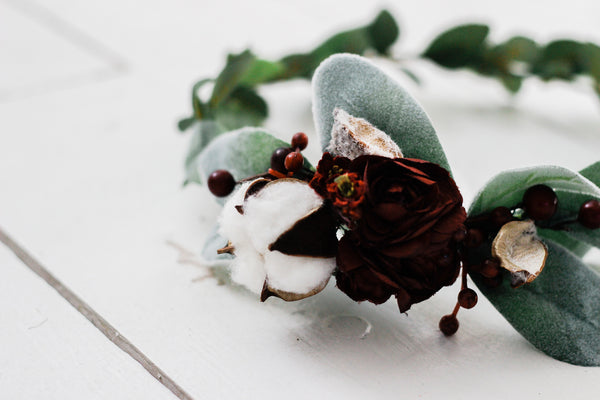 Mixed Greenery+Deep Red Flowers+Cotton Bloom Greenery Crown
