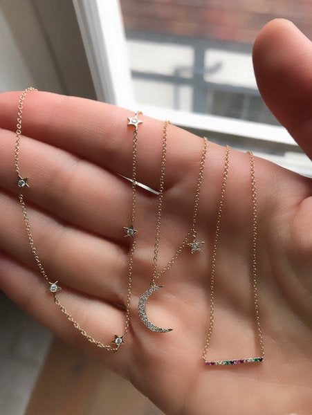 14k Yellow Gold Diamond Moon and Star Necklace