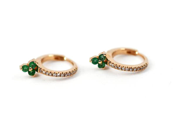 14k Rose Gold Emerald Trio Huggie Earrings