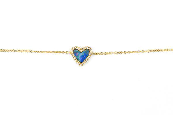 14k Yellow Gold Opal Heart Bracelet