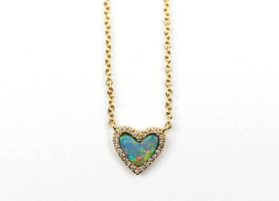 14k Yellow Gold Opal Heart Necklace