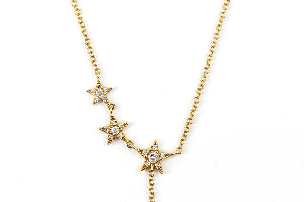 14k Yellow Gold Diamond Stars Lariat