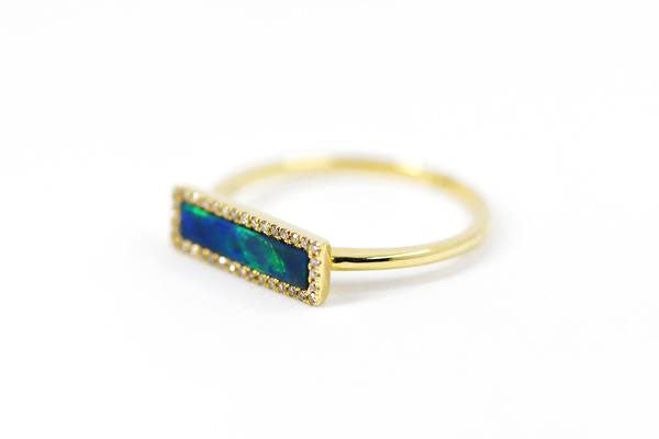14k Gold Opal Bar Ring