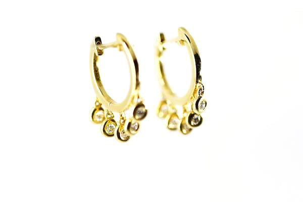 14k Yellow Gold Diamond Dangle Hoop Earrings