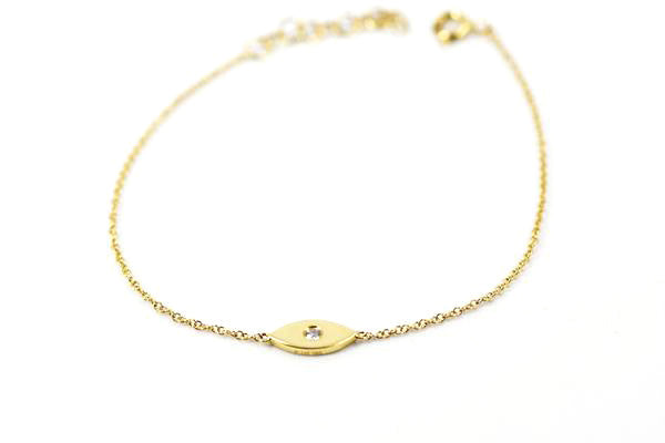 14k Yellow Gold Evil Eye Diamond Bracelet