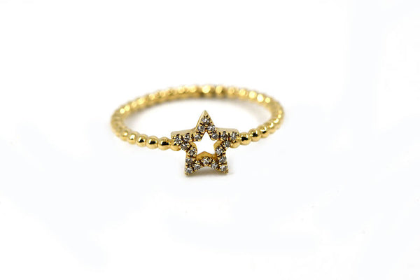 14k Yellow Gold Open Star Diamond Ring