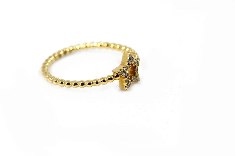 14k Gold Open Star Diamond Ring