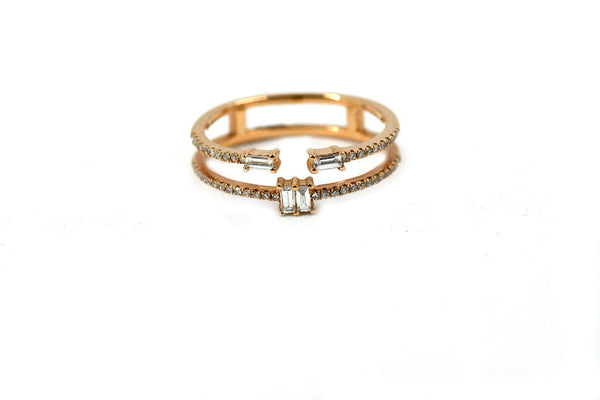14k Rose Gold Diamond Baguette Ring