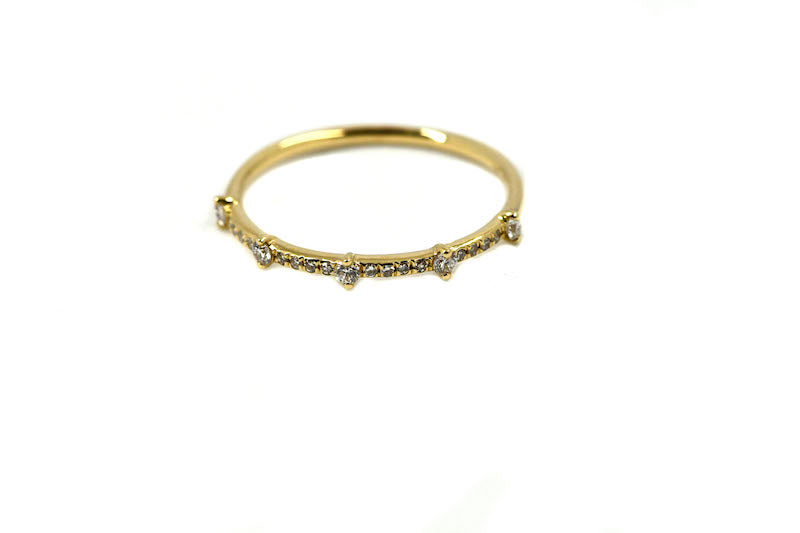 14k Yellow Gold Diamond Spike Ring