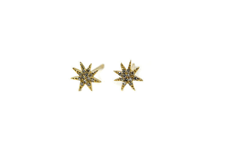 14k Yellow Gold Diamond Starbust Stud Earrings