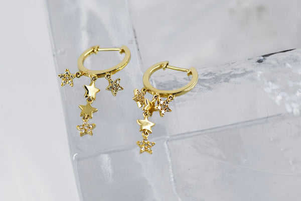 14k Yellow Gold Diamond Star Dangle Hoop Earrings