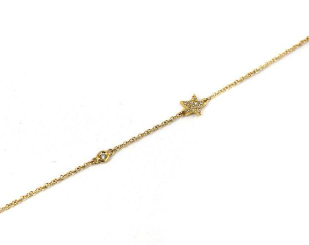 14k Yellow Gold Diamond Star and Bezel Bracelet