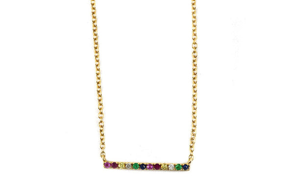 14k Yellow Gold Rainbow Sapphire Bar Necklace
