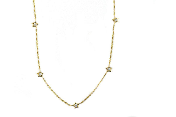 14k Yellow Gold Diamond Star Choker