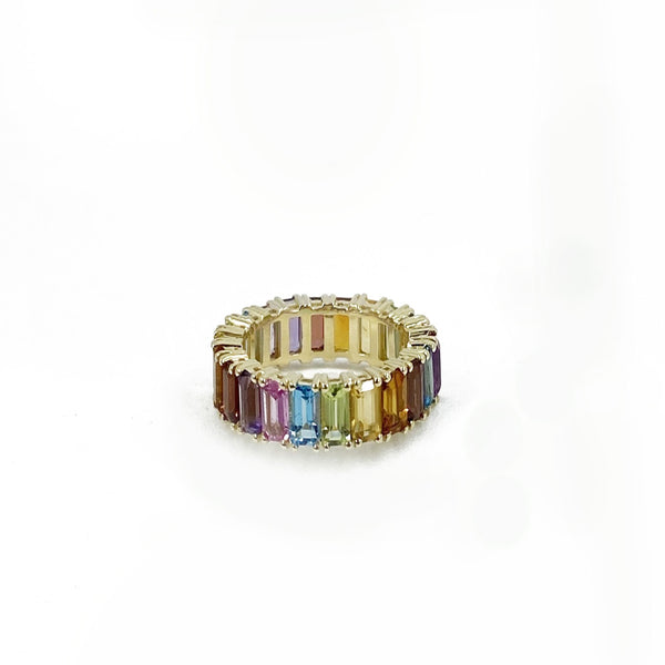 14k Gold Rainbow Emerald Cut Eternity Band