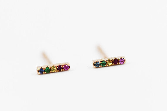 14k Rose Gold Rainbow Sapphire Bar Stud Earrings