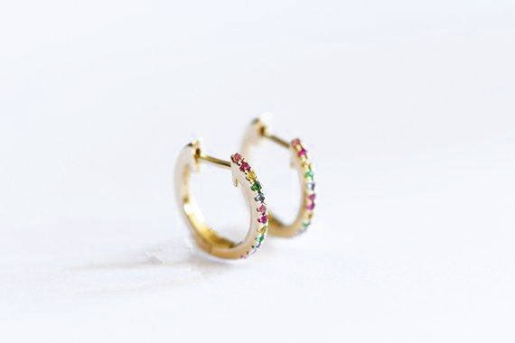 14k Gold Rainbow Sapphire Huggie Hoop Earrings